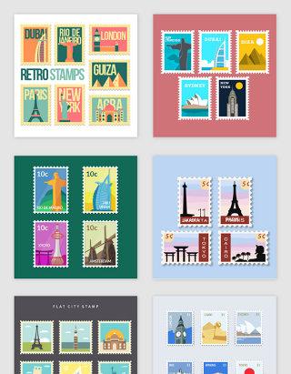 卡通旅游城市邮票素材