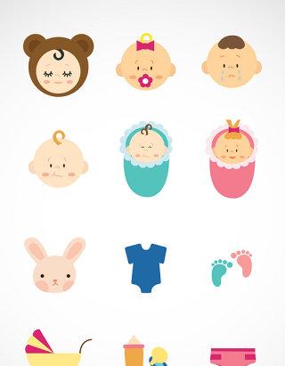 婴儿及用品矢量图形