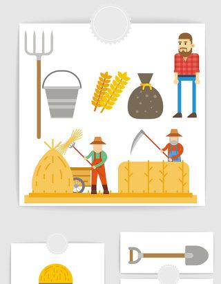 矢量卡通农场农民元素