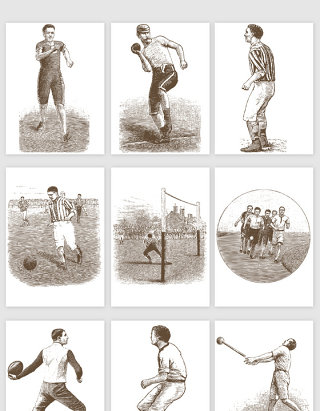 手绘体育运动人物的矢量素材