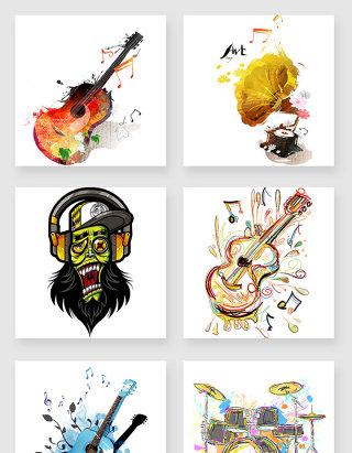 音乐涂鸦卡通设计素材