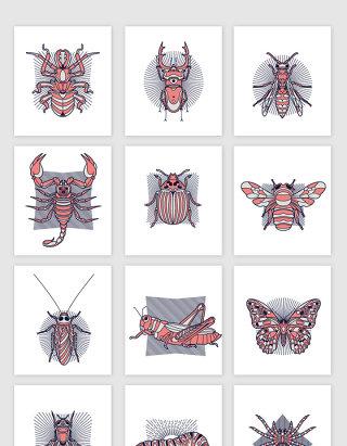手绘动物昆虫装饰图案