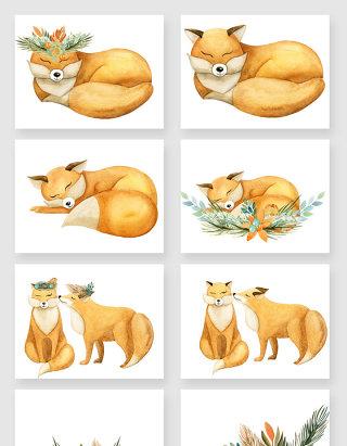 手绘可爱的小狐狸矢量素材