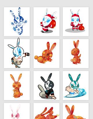 手绘卡通中国兔子