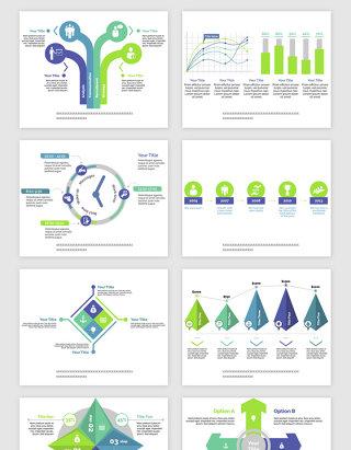 PPT蓝绿色的报表类矢量素材