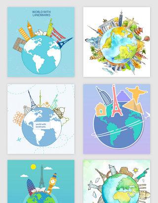 创意环球旅游地球矢量素材