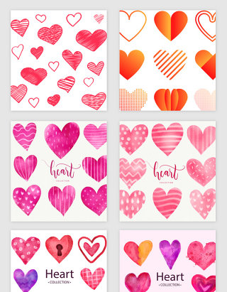 多款紫红色爱心矢量素材