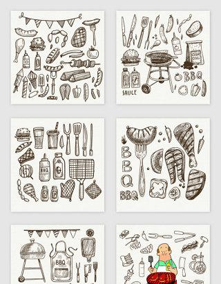手绘线描bbq烧烤素材
