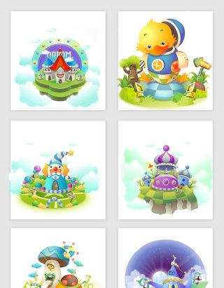 梦幻城堡素材设计