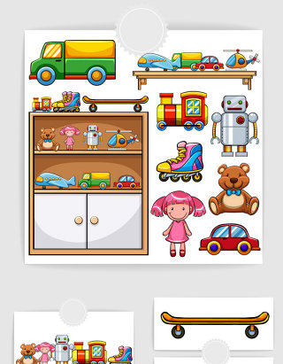 彩色可爱卡通摆放架儿童玩具图案矢量素材