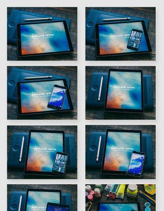 iPad平板电脑智能手机产品贴图样机素材