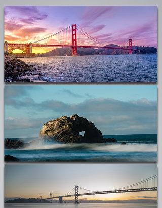 旧金山美丽风景旅行景观背景图