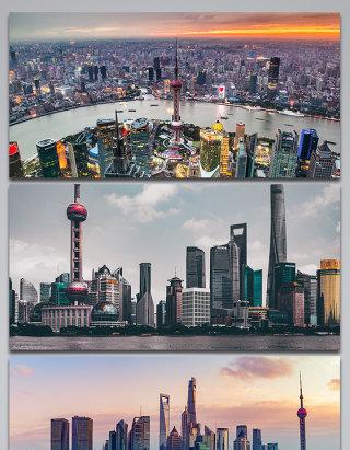 上海东方明珠陆家嘴CBD城市建筑背景图