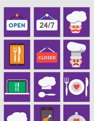 彩色扁平化创意厨房餐饮图标矢量图形