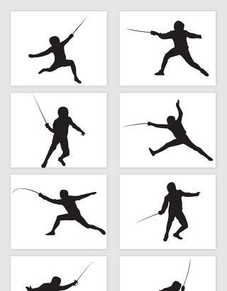 矢量击剑运动员剪影