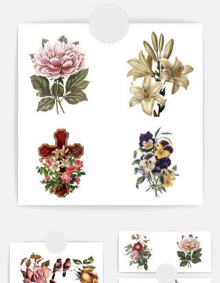 五颜六色鲜花元素