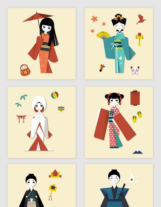 日本手绘人物和服素材