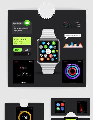智能手表iwatch应用界面UI设计素材