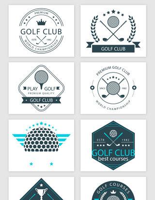 线描高尔夫标贴矢量素材