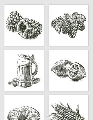 素描桑子柠檬牛角包玉米扎啤果汁插画矢量图