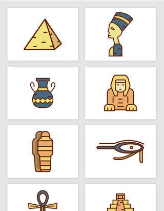 埃及特色建筑雕像物件彩色插画矢量图形