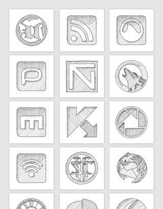 手绘素描APP手机应用程序界面创意图标