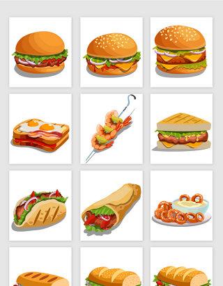 卡通风格西餐食物矢量元素