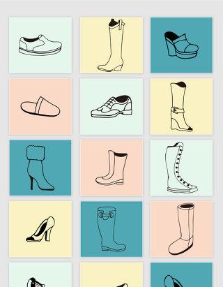 矢量手绘线描女鞋靴子