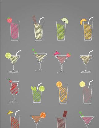 矢量水果果汁矢量图