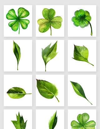 彩绘绿色四叶草与树叶素材