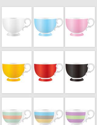 彩色花茶杯卡通矢量图形