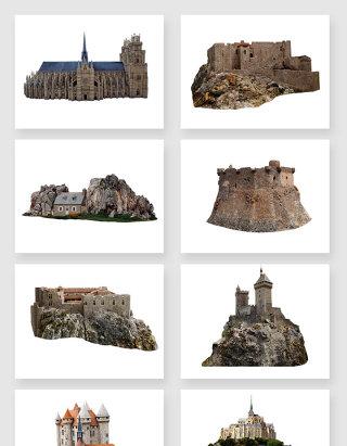 高清免抠岩石建筑城堡