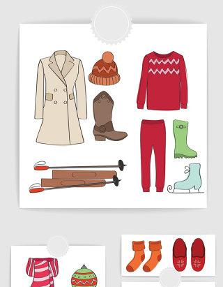 女式冬季服装配饰矢量素材
