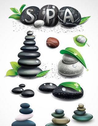 养生spa水疗鹅卵石设计素材