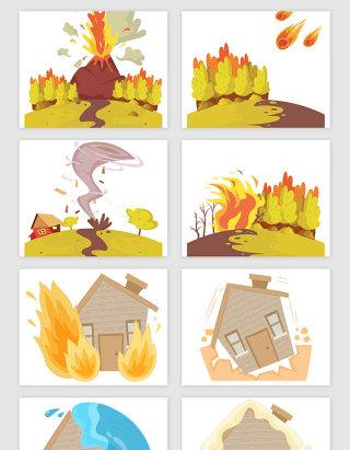 自然灾害的场景矢量素材