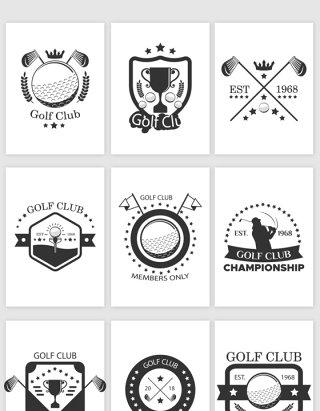 高尔夫的图标标贴矢量素材