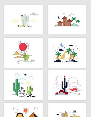 矢量卡通时尚沙漠埃及风景插画