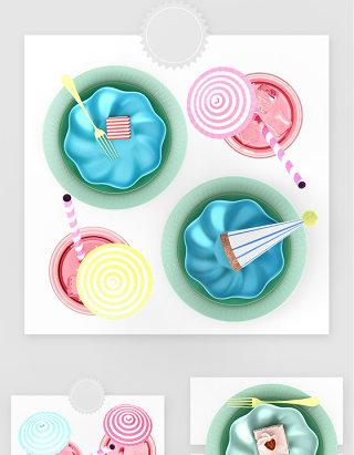 甜品店彩色果盘冰淇凌蛋糕设计素材