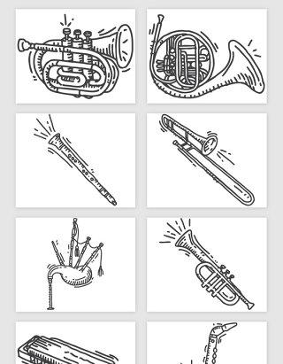 手绘音乐管弦乐器矢量素材