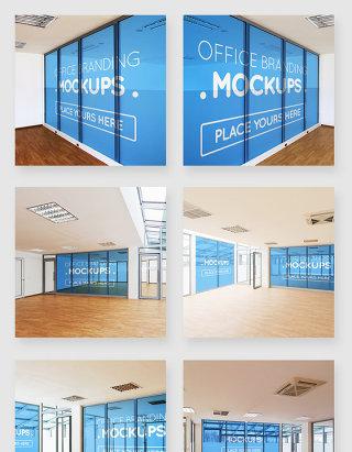 办公楼室内文化墙玻璃墙智能贴图样机素材