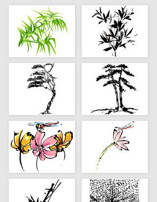 水墨风景植物花朵的矢量素材