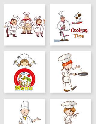 手绘卡通厨师设计素材合集