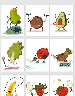 水果可爱卡通拟人矢量元素