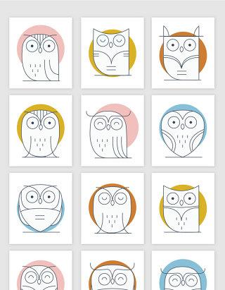 线描猫头鹰的矢量素材