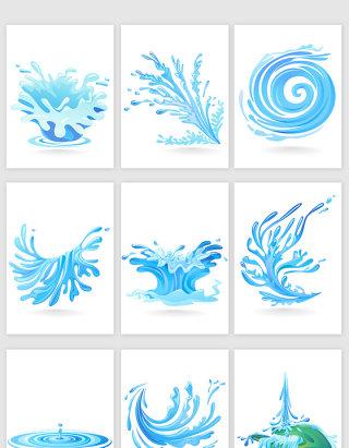手绘创意浪花矢量元素