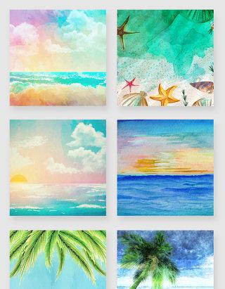 水彩手绘海边风景插画素材