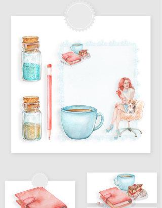 时尚手绘水彩风格女生下午茶装饰PNG元素