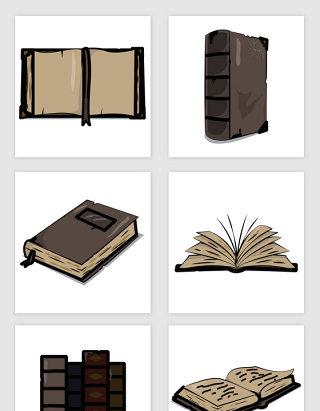 老旧复古的书本插画矢量图形
