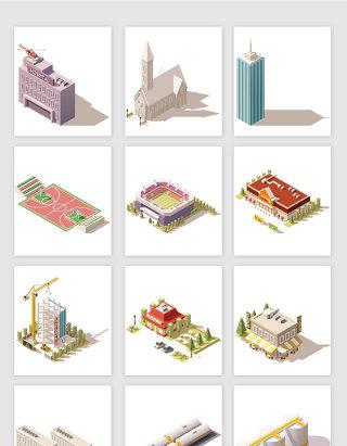 立体3D地标建筑矢量元素