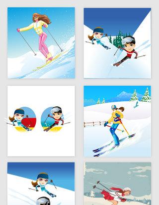 冬奥会卡通滑雪运动